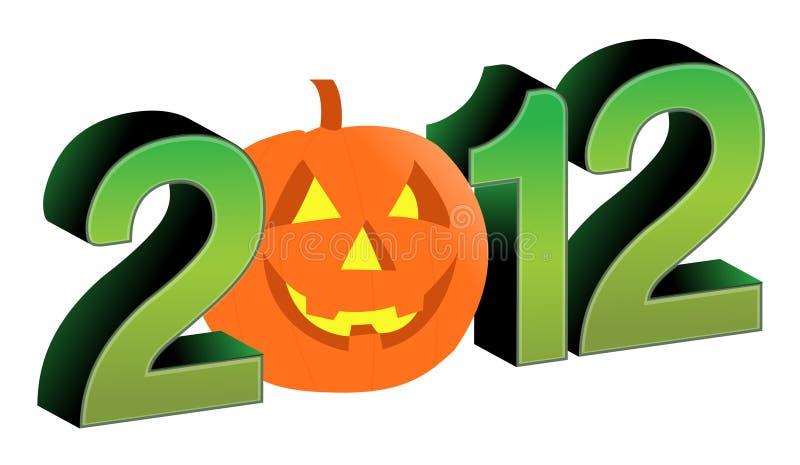 testo 2012 e disegno di Halloween royalty illustrazione gratis