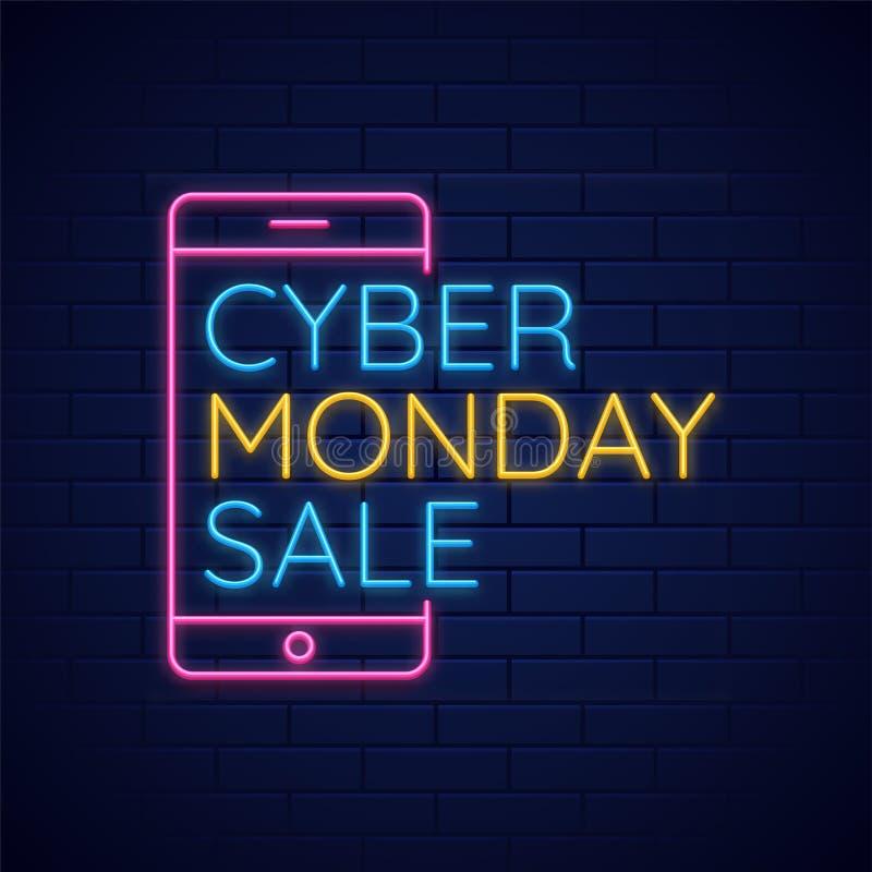 Testo al neon con la vendita cyber di lunedì con lo smartphone sul blu lucido illustrazione vettoriale