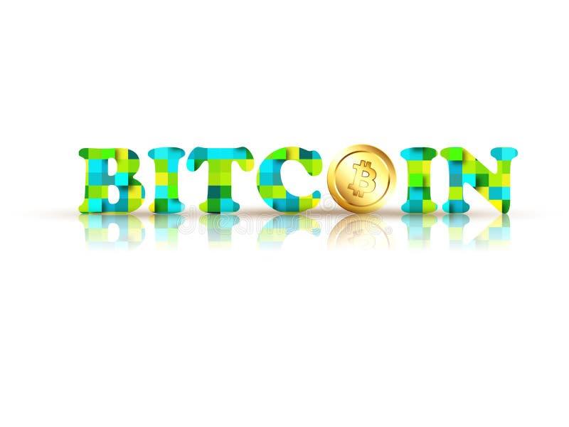 Testo alla moda Bitcoin con la moneta dorata illustrazione di stock