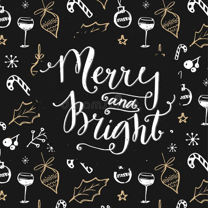 Testo allegro e luminoso sul modello delle decorazioni di Natale Progettazione scura con gli scarabocchi dell'oro e di bianco illustrazione vettoriale