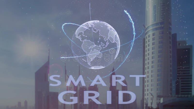 Testo astuto di griglia con l'ologramma 3d del pianeta Terra contro il contesto della metropoli moderna illustrazione di stock