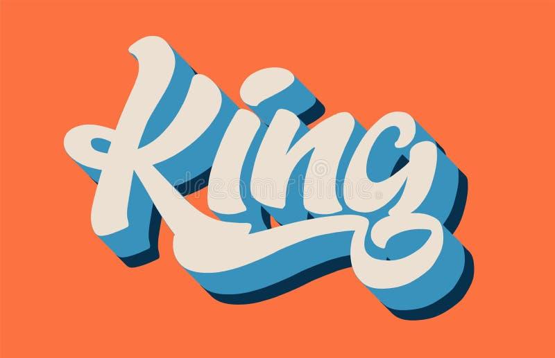 testo bianco blu arancio di parola scritta della mano di re per il ceppo di tipografia illustrazione di stock