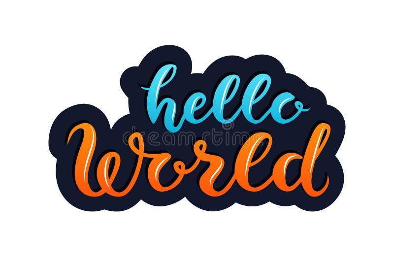 Testo blu ed arancio del mondo di Ettering ciao, su fondo blu scuro royalty illustrazione gratis