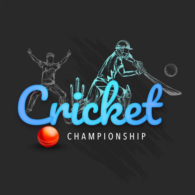 Testo blu lucido del cricket su fondo grigio con il giocatore brillante rosso del cricket e della palla nel gioco della posa illustrazione di stock