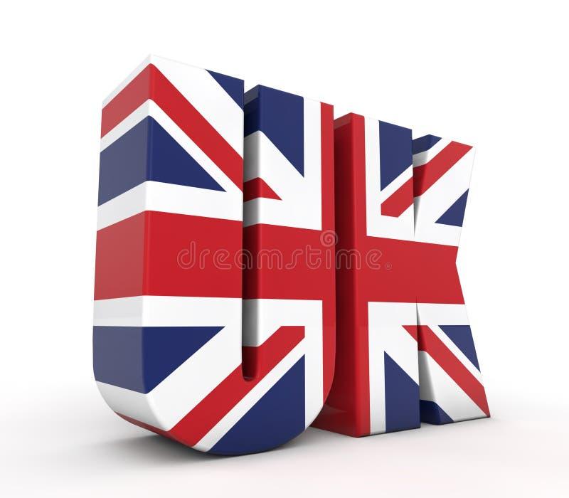 Testo BRITANNICO 3d con la bandierina illustrazione di stock
