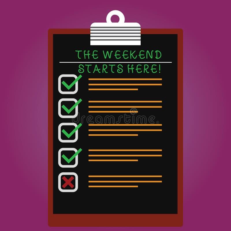 Testo che della scrittura il fine settimana inizia qui Finale di significato di concetto della settimana che inizia verticale di  immagine stock libera da diritti