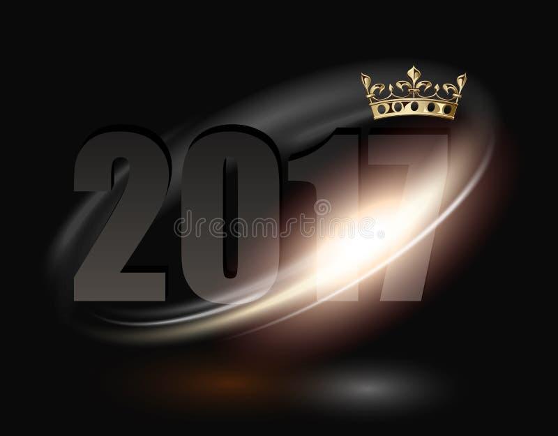 testo 2017 con la corona dorata illustrazione di stock