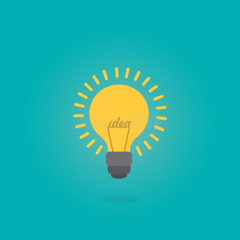 Testo creativo di idea nella forma della lampadina Concetto di ispirazione, illustrazione piana di stile illustrazione vettoriale