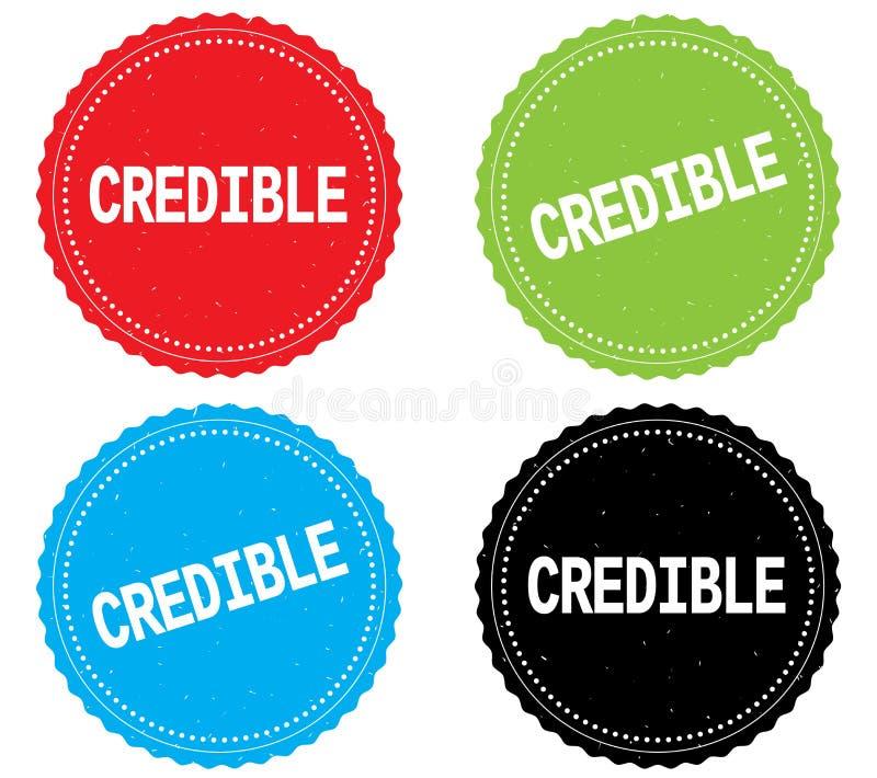 Testo CREDIBILE, sul distintivo ondulato rotondo del bollo del confine illustrazione di stock