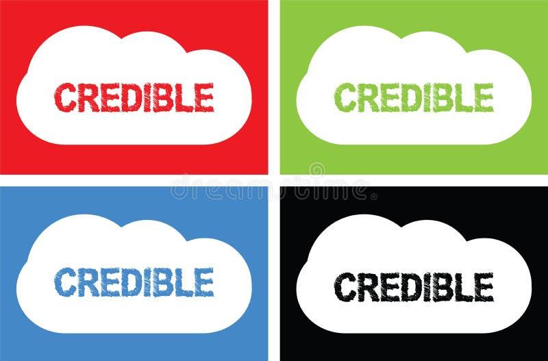 Testo CREDIBILE, sul segno della bolla della nuvola royalty illustrazione gratis