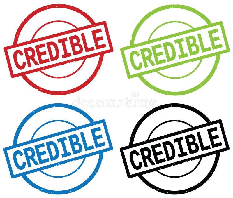 Testo CREDIBILE, sul segno semplice rotondo del bollo illustrazione di stock