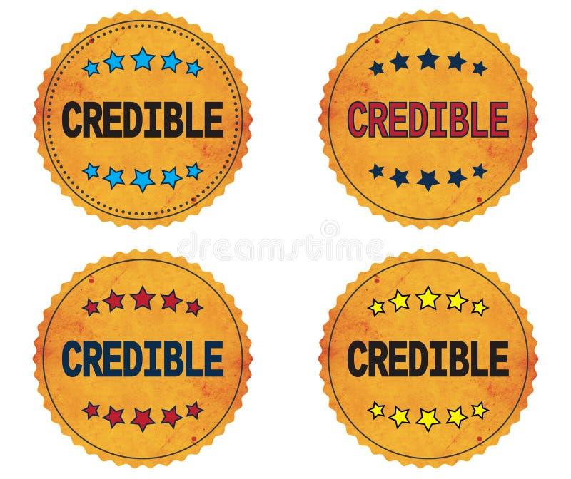 Testo CREDIBILE, sull'annata ondulata rotonda del confine, distintivo del bollo royalty illustrazione gratis