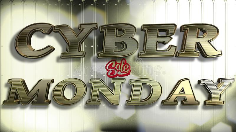 Testo cyber dell'oro 3D di vendita di lunedì fotografia stock libera da diritti