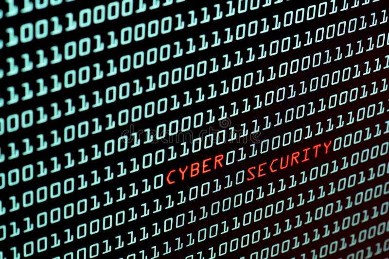 Testo cyber di sicurezza e concetto di codice binario dall'SCR del desktop fotografia stock libera da diritti