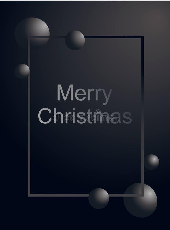 Testo d'argento della cartolina d'auguri di Buon Natale e palla grigia di pendenza nel telaio verticalmente su fondo nero opaco V illustrazione di stock