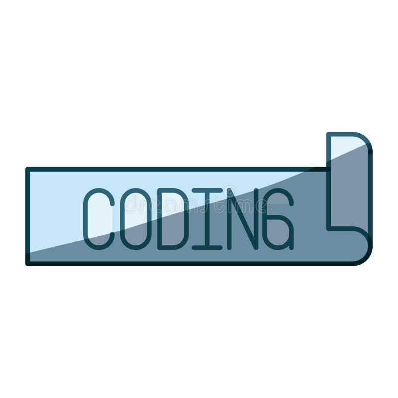 Testo d'ombreggiatura blu dell'etichetta della siluetta di codifica royalty illustrazione gratis