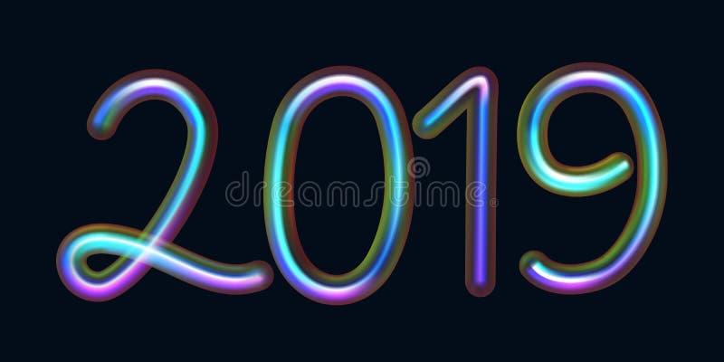 testo 2019 dai tubi al neon con la luce fluorescente della perla royalty illustrazione gratis