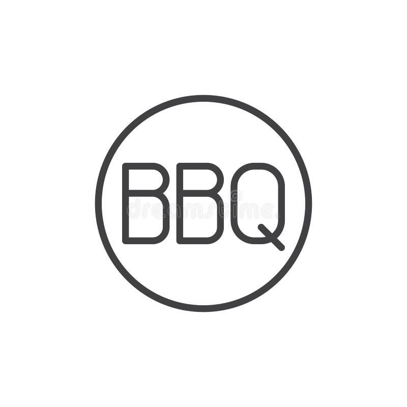 Testo del BBQ in una linea icona del cerchio illustrazione vettoriale