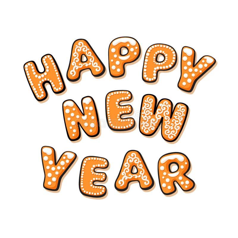 Testo del buon anno composto di biscotti del pan di zenzero Lettere disegnate a mano del fumetto Illustrazione di vettore illustrazione di stock