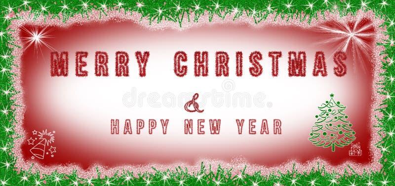 Testo del buon anno & di Buon Natale scritto su fondo rosso e bianco con la decorazione di Natale intorno Cartolina di Natale illustrazione vettoriale