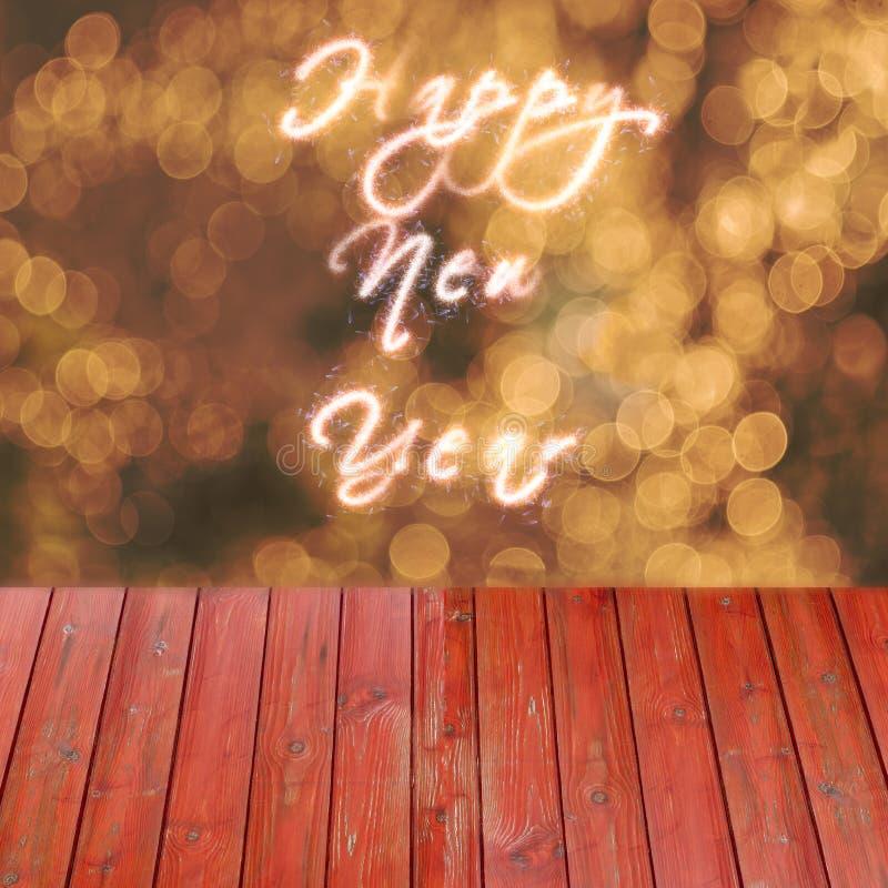 Testo del buon anno scritto sul fondo dell'oro Tavola vuota di Rea per esposizione dei prodotti immagine stock libera da diritti