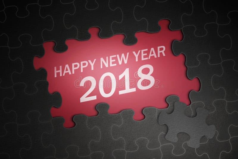 Testo del buon anno 2018 sul puzzle fotografia stock libera da diritti