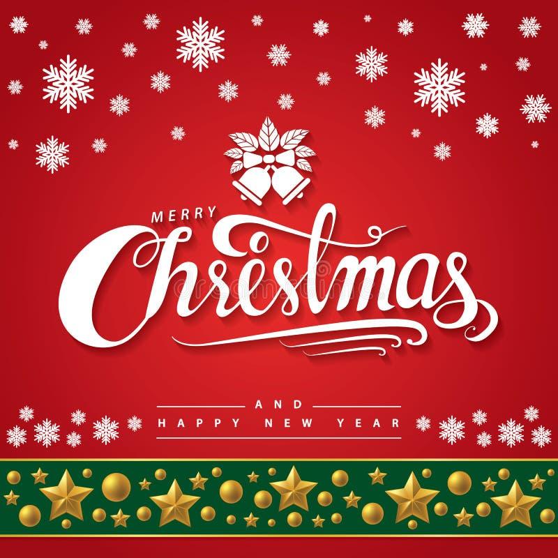 Testo del Buon Natale su fondo rosso royalty illustrazione gratis