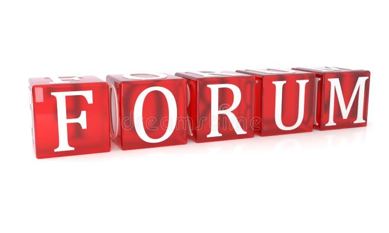 Testo del cubo del forum su fondo bianco illustrazione vettoriale