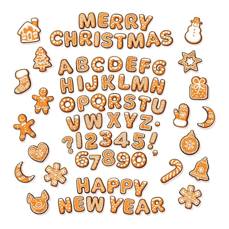 Testo del nuovo anno e di Natale, alfabeto del pan di zenzero e biscotti tradizionali svegli di festa Lo zucchero ha ricoperto le illustrazione di stock