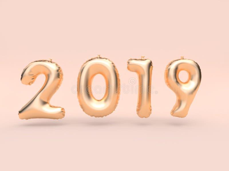testo 2019 del pallone/oro di numero che fa galleggiare 3d che rende fondo rosa illustrazione di stock