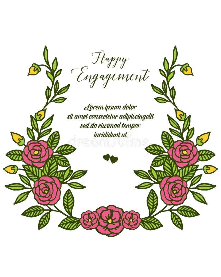 Testo dell'illustrazione di vettore dell'impegno felice con la struttura floreale decorata illustrazione di stock