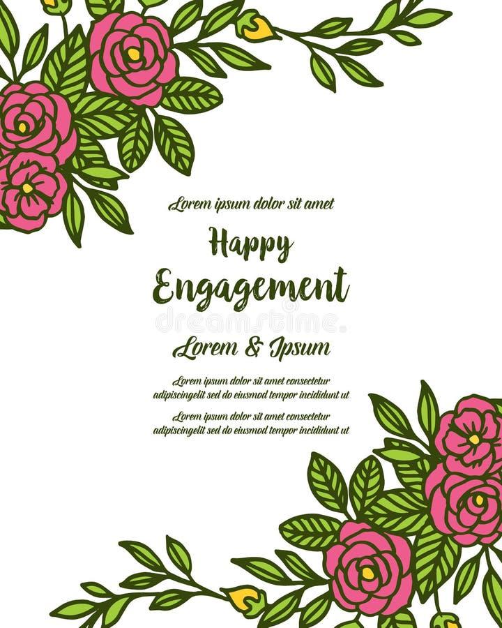 Testo dell'illustrazione di vettore dell'impegno felice con la struttura floreale decorata royalty illustrazione gratis