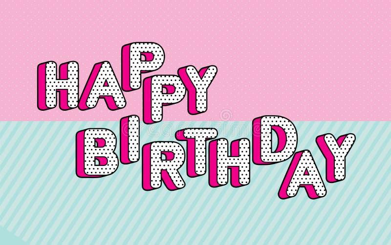 Testo dell'insegna di buon compleanno con la sorpresa di tema rosa calda della bambola di GRASSA RISATA del partito dell'ombra Pu illustrazione di stock