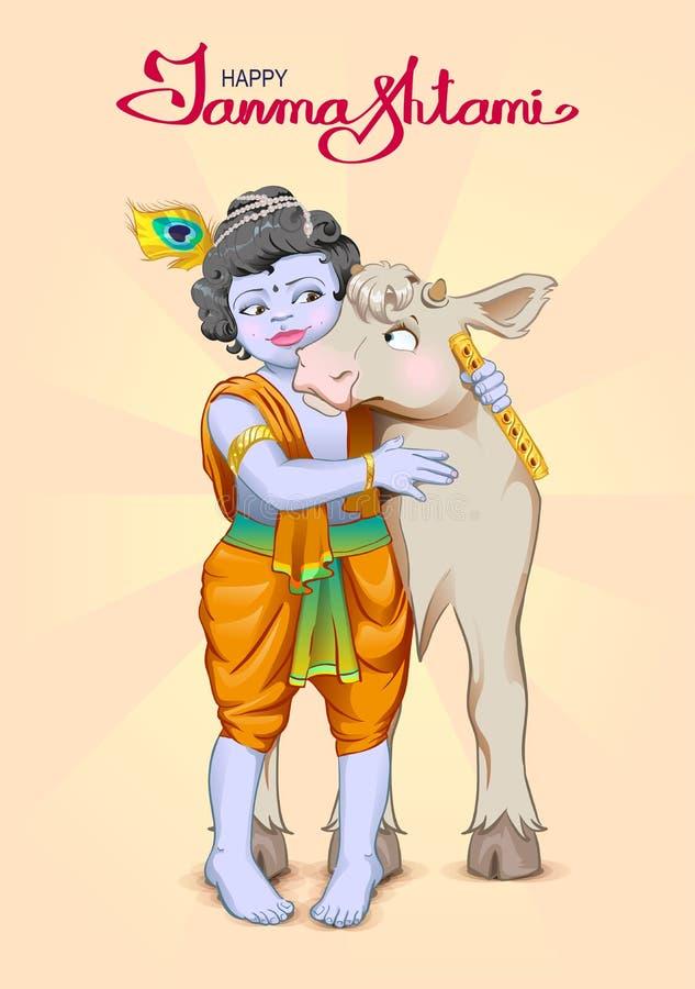 Testo dell'iscrizione di Krishna Janmashtami per la cartolina d'auguri Dio è la mucca degli abbracci del pastore Compleanno Krish royalty illustrazione gratis