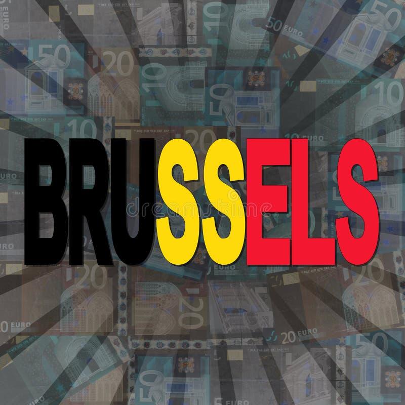 Testo della bandiera di Bruxelles sull'illustrazione di scoppio degli euro illustrazione di stock