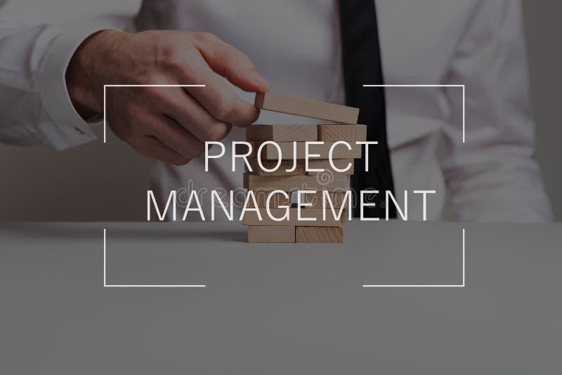 Testo della gestione di progetti sopra l'uomo d'affari che costruisce una torre dei pioli di legno fotografia stock libera da diritti