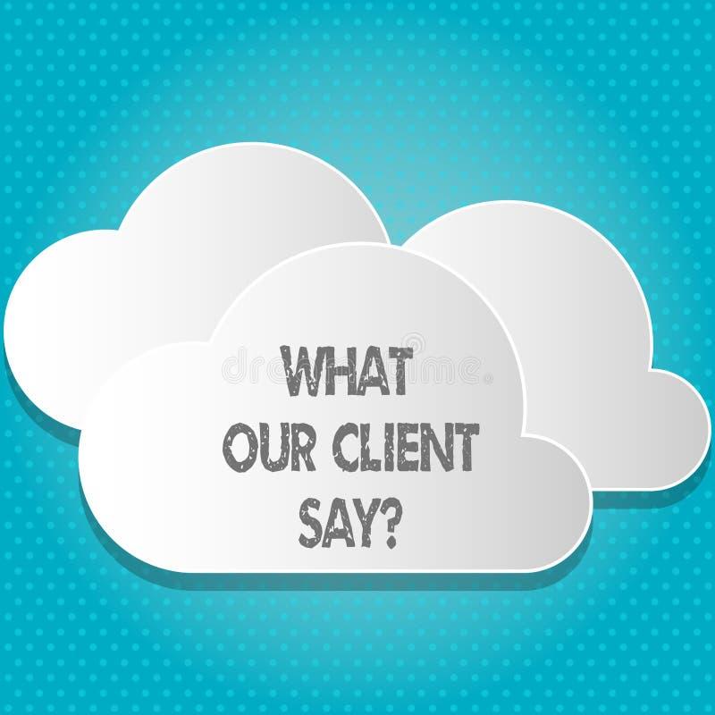 Testo della scrittura che cosa il nostro cliente dice Concetto che significa risposte o opinione di clienti circa servizio del pr illustrazione vettoriale