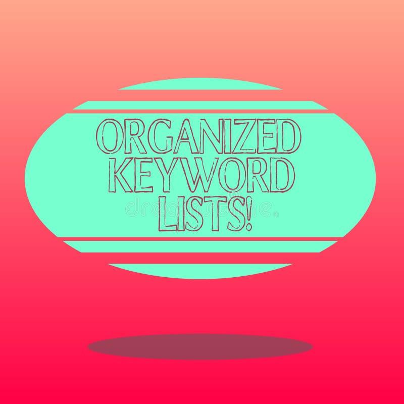 Testo della scrittura che redige le liste organizzate di parola chiave Significato di concetto che prende lista delle parole chia royalty illustrazione gratis