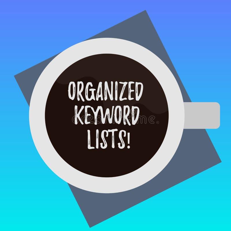 Testo della scrittura che redige le liste organizzate di parola chiave Significato di concetto che prende lista delle parole chia illustrazione vettoriale
