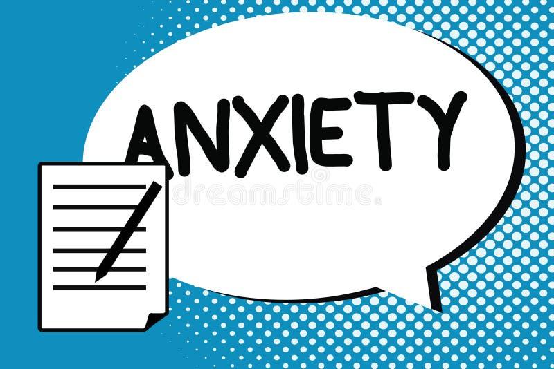 Testo della scrittura che scrive ansia Concetto che significa eccessiva sindrome di attacco di panico di apprensione e di disagio royalty illustrazione gratis