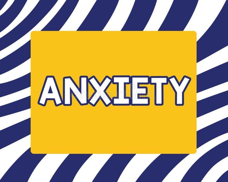 Testo della scrittura che scrive ansia Concetto che significa eccessiva sindrome di attacco di panico di apprensione e di disagio illustrazione di stock