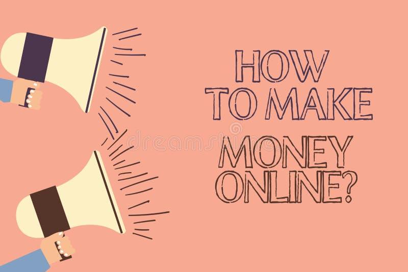 Testo della scrittura che scrive come fare soldi Onlinequestion Concetto che significa le strategie per ottenere i guadagni su In illustrazione vettoriale