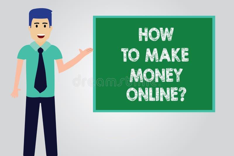 Testo della scrittura che scrive come fare soldi Onlinequestion Concetto che significa le strategie per ottenere i guadagni sull' illustrazione vettoriale