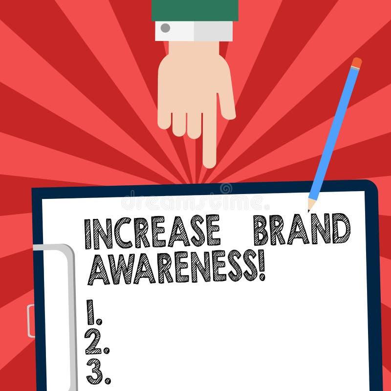 Testo della scrittura che scrive consapevolezza di marca di aumento Il significato di concetto convince i influencers per visuali illustrazione vettoriale