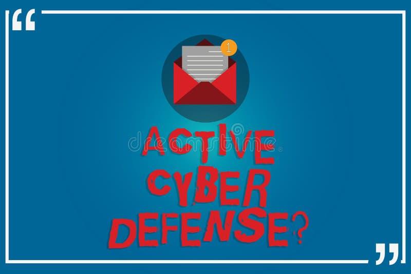 Testo della scrittura che scrive Defensequestion cyber attivo Significato di concetto che agisce nell'anticipazione per opporrsi  illustrazione vettoriale
