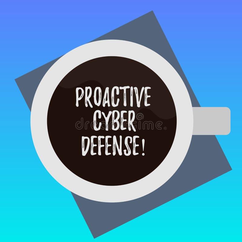 Testo della scrittura che scrive difesa cyber dinamica Concetto che significa anticipazione per opporrsi ad un attacco che compre royalty illustrazione gratis