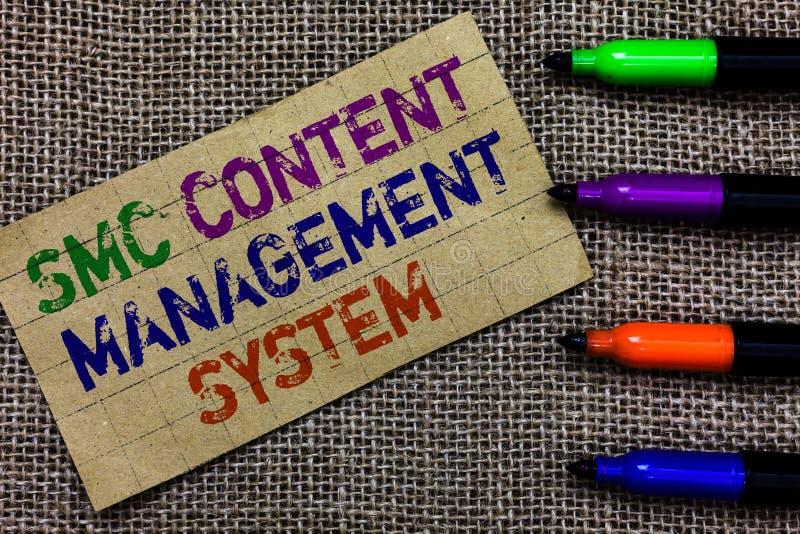 Testo della scrittura che scrive il sistema di content management di Smc Mangae creazione e modifica di significato di concetto d fotografia stock libera da diritti