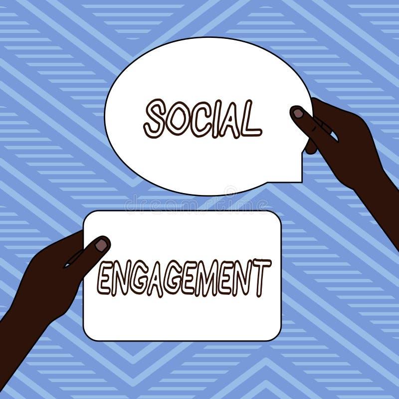 Testo della scrittura che scrive impegno sociale Grado di significato di concetto di impegno in comunità in linea o una società d royalty illustrazione gratis