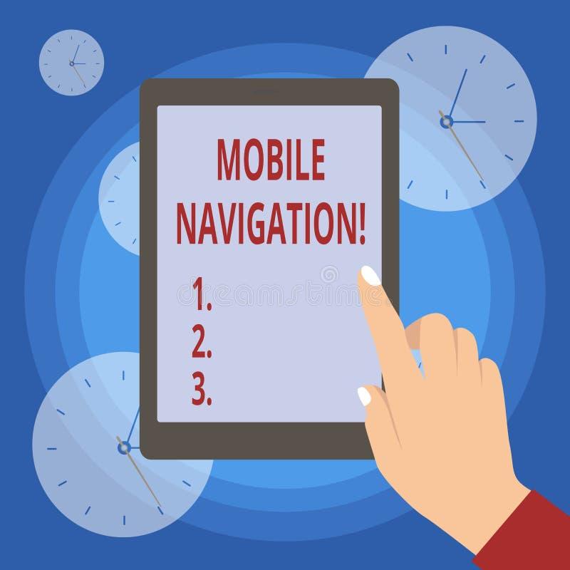 Testo della scrittura che scrive navigazione mobile Interfaccia grafica di significato di concetto usata per aiutare l'autista de illustrazione di stock