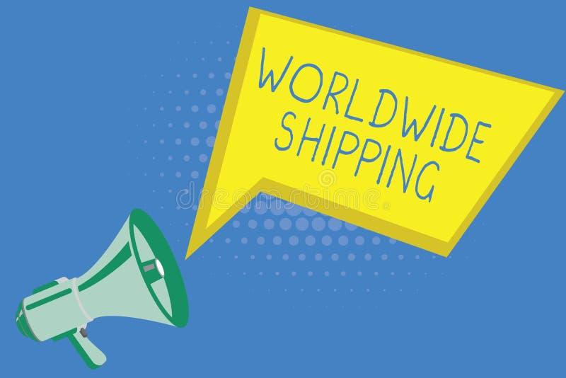 Testo della scrittura che scrive trasporto mondiale Consegna dei trasporti via mare di significato di concetto della spedizione d illustrazione di stock
